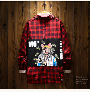 Hip Hop Letter Print Plaid Long Sleeve Shirt Men Oversize Japanese Style Mens Striped Shirts Long Sleeves Slim Men Shirt II50CS