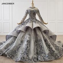 HTL1199 Long Elegant Evening Dress 2020 Long Sleeve High Neck Applique Crystal Lace Long Party Dress New