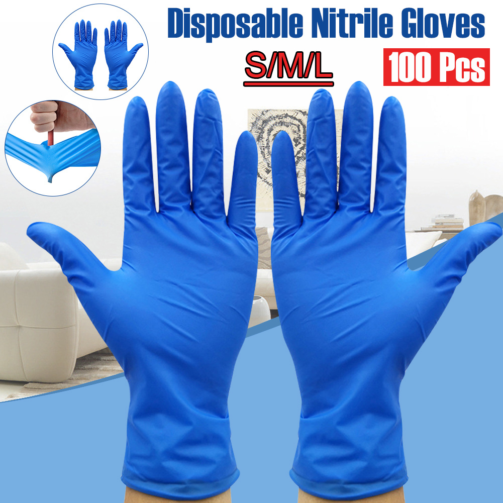 100PCs Disposable Nitrile Non-slip Thickening Gloves Work Gloves Kitchen Gloves Cleaning Universal Garden Home Tattoo Beauty