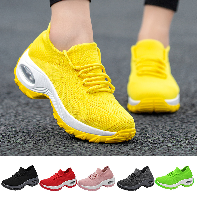Women Walking Shoes ,Lightweight Mesh Slip-on Breathable Yoga Sneakers Soft Soles Running Sports Shoes,Chunky Trainers Sneakers Women