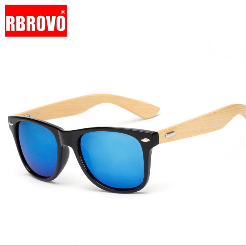 RBROVO Frame Sunglasses Wooden-Legs Oculos-De-Sol Classic Bamboo Vintage Outdoor Brand Designer