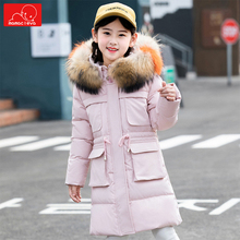 цена winter girls faux fur coat children white duck down coat overcoat kids warm  hooded jacket clothing outerwear 6-12T онлайн в 2017 году