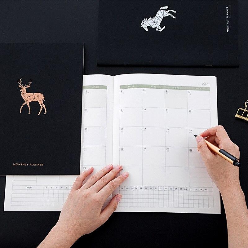 2020 A4 Notebook Black Cover Schedule Planner Monthly Calendar Journal Organizer Student Office Study Notebook Writing Plan Book