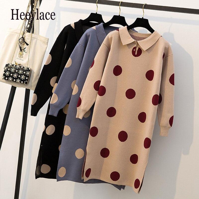 Robes de grande taille femmes automne hiver Style coréen col rabattu robe à pois dames fente latérale robe pull tricoté 4XL