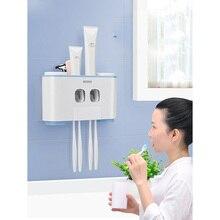 LEDFRE פלסטיק אוטומטי משחת שיניים מסחטת Dispenser סט עם קיר רכוב ילדים ידיים משלוח לילדים לאמבטיה LF71001