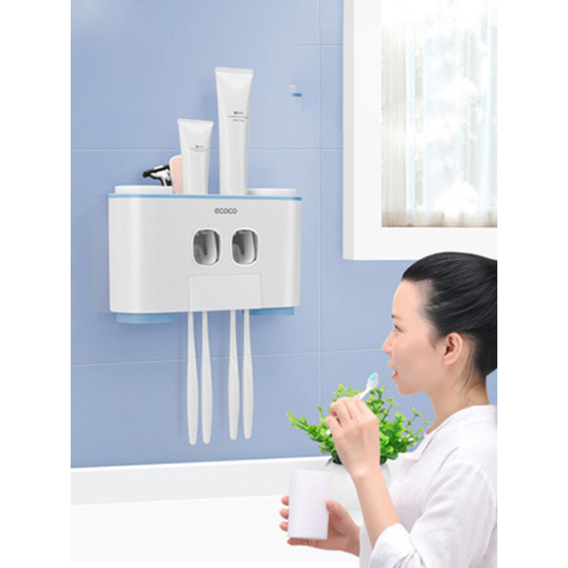 LEDFRE Plastic Automatic Toothpaste Squeezer Dispenser Set with Wall Mounted Kids Hands Free for Kids for Bathroom LF71001
