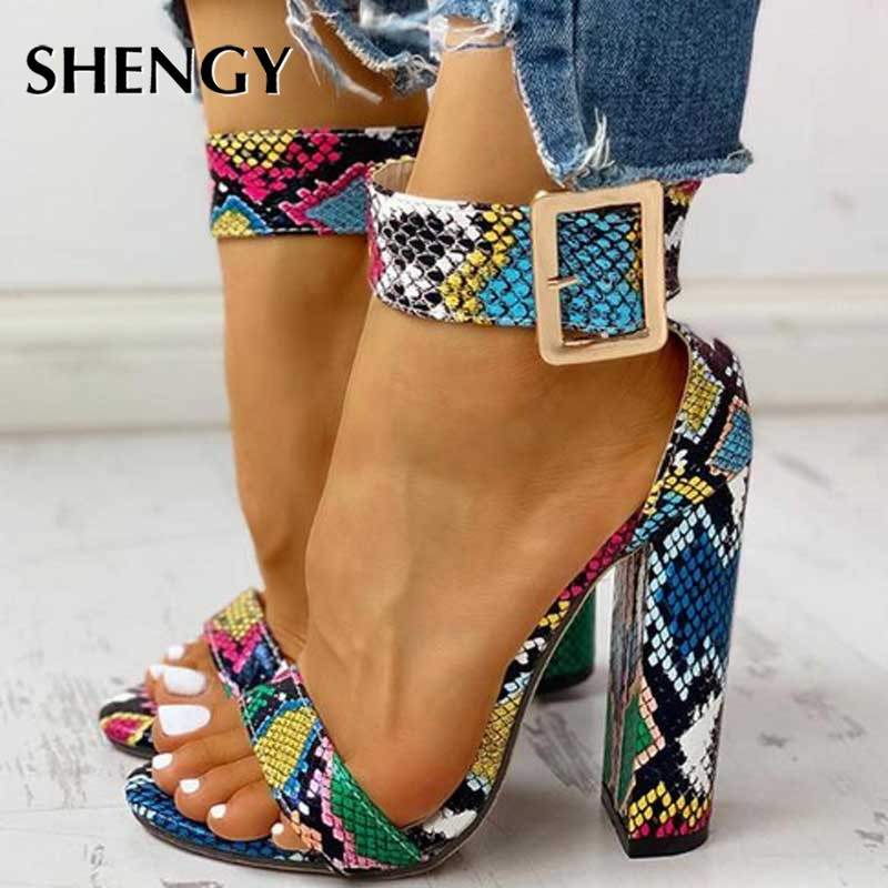 2020 Women Buckle Strap Pumps Multicolor Serpentine Square Heel Fashion High Heels Women Nightclub Party Shoes