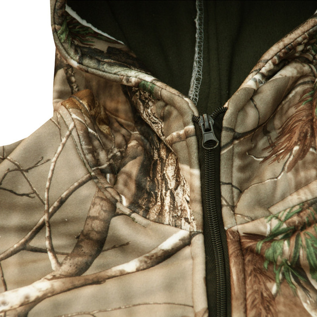 Autumn Winter Thicken Warm Fleece Bionic Camouflage Hunting Suit Jacket Pants Tactical Hiking Fishing Clothes Ghillie Suits