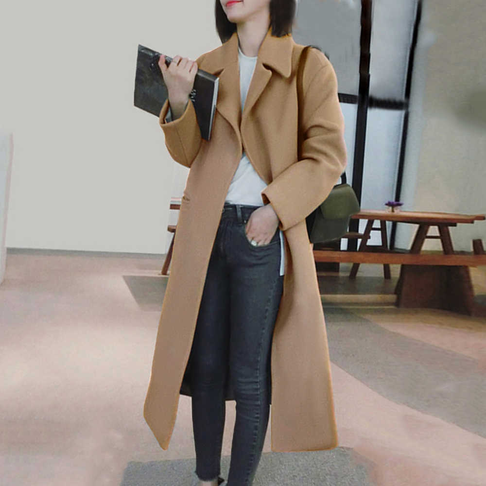 Women's Blend Coat 2019 Winter New Casual Korean Version Slim Women Coat Long Sleeve Women Plus Size Warm Coats