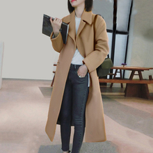 Women's Blend Coat 2019 Winter New Casual Korean Version Slim Women Coat Long Sl