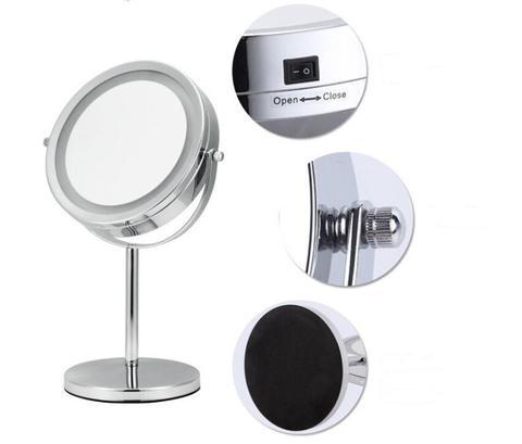 7 Polegada desktop espelho de maquiagem 2 face espelho abs 5x amplia o espelho cosm