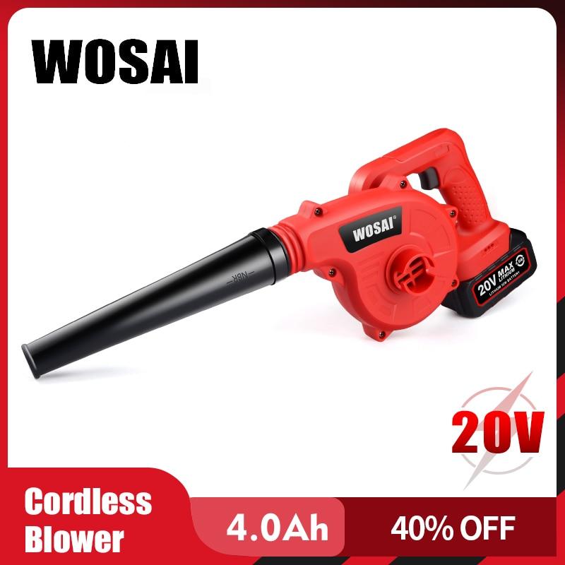 WOSAI Soffiatore per foglie a batteria Soffiatore a batteria per corde 20V Ventilatore ad aria elettrico Spazzatrice a batteria per utensili da giardino