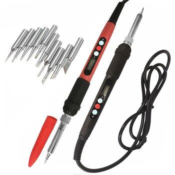 60W 100V-240V Digital soldering  iron kit set with soldering iron tips adjustable temperature LCD solder welding repair tools