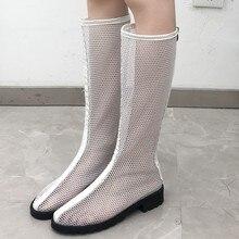 Eillysevens/женские дышащие Сапоги до колена с сеткой Повседневные высокие зимние женские сапоги на квадратном каблуке женские зимние сапоги# q30