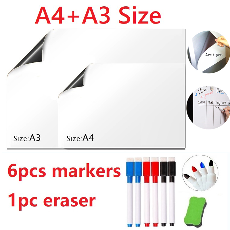 A4 + A3 Erasable Magnetic Dry-erase Whiteboard Fridge Magnets White Board Marker Pens Eraser School Office Meeting Message Board