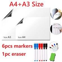 Белая стираемая магнитная доска a4 + a3 белая на холодильник