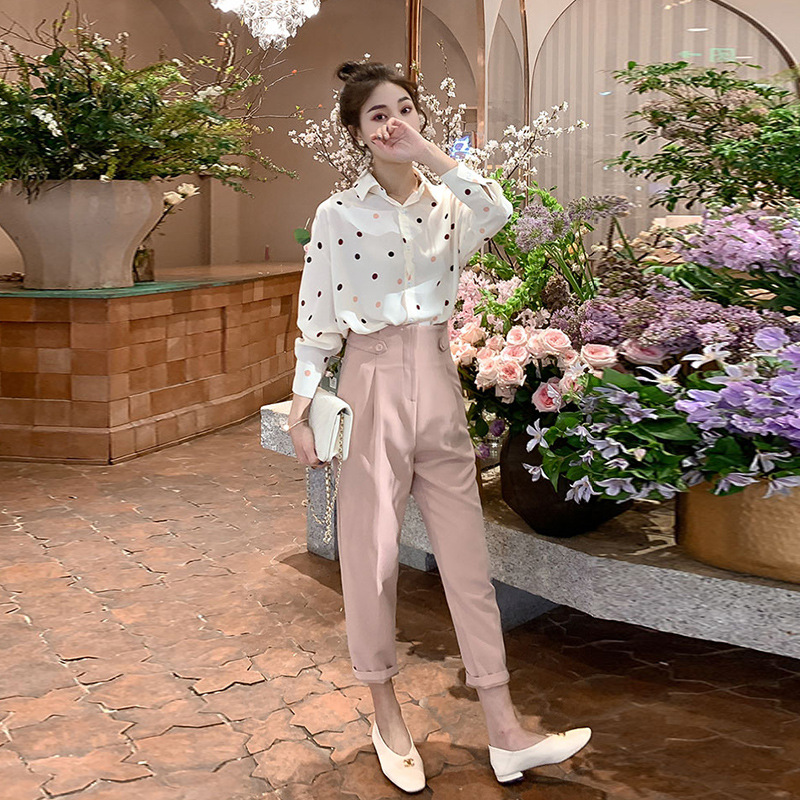 French Shirt Western Style Two-Piece 2019 Early Autumn New Style Online Celebrity Playful Sense Of Design Very Fairy Fashionable