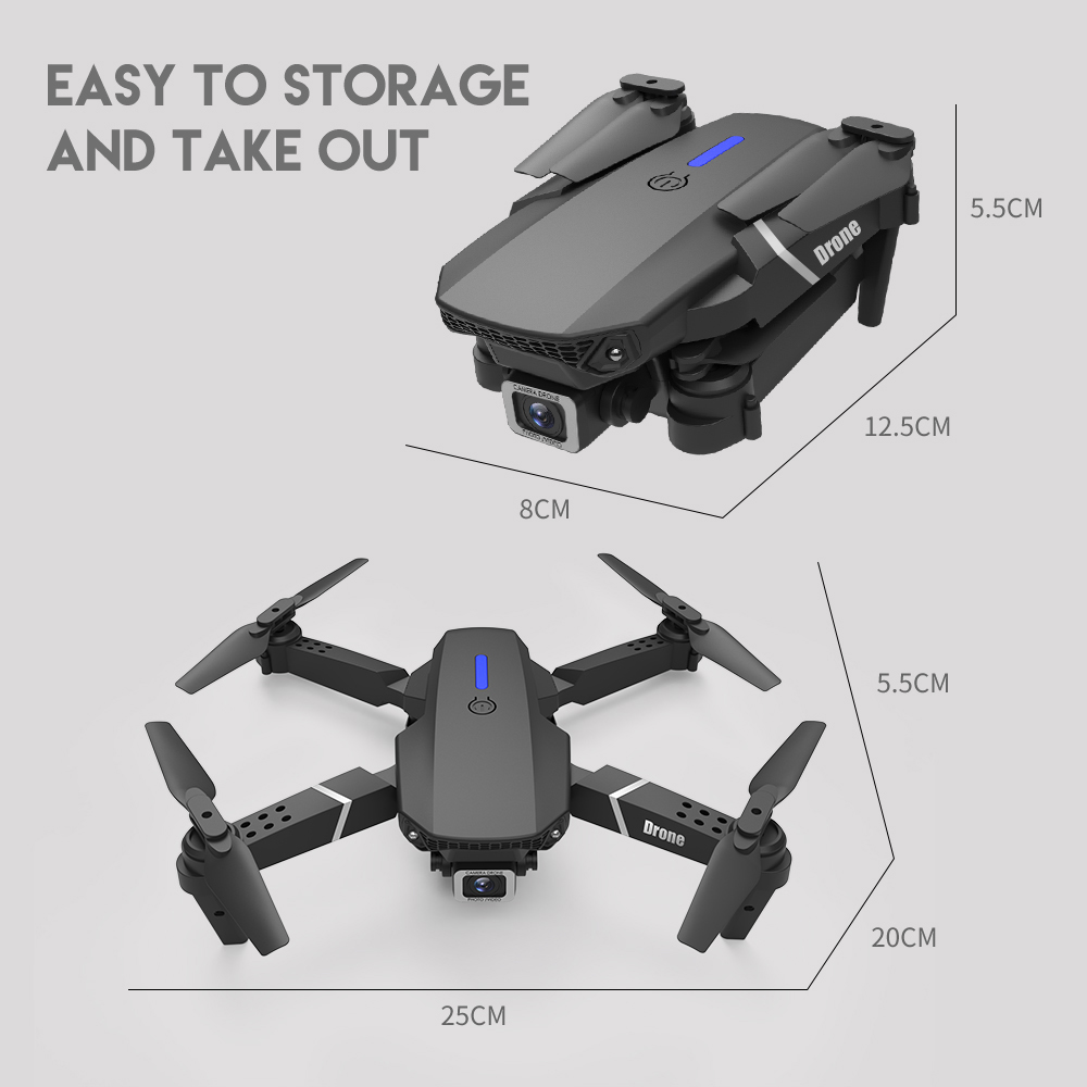 XKJ 2021 New E88 Pro Drone With Wide Angle HD 4K 1080P Dual Camera Height Hold Wifi RC Foldable Quadcopter Dron Gift Toy 4