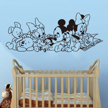 Disney Mickey Mouse winne Cartoon Baby Characters Vinyl wall stickers for kids rooms accessories Wall Art Decor Decals S