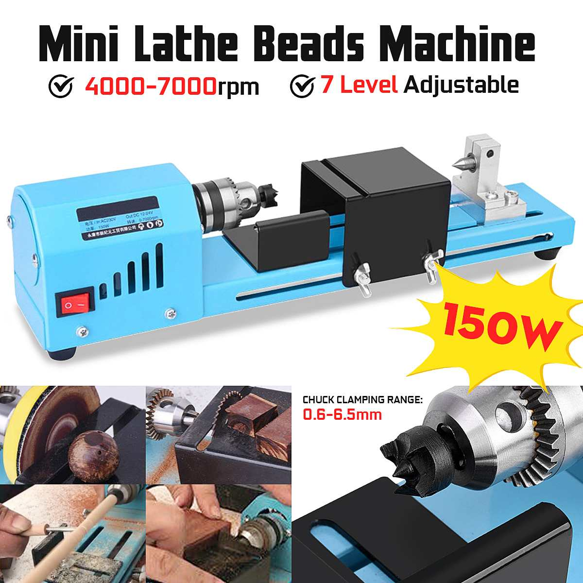 150W Mini Lathe Machine Tool DIY Woodworking Wood lathe Milling machine Grinding Polishing Beads Drill Rotary Tool