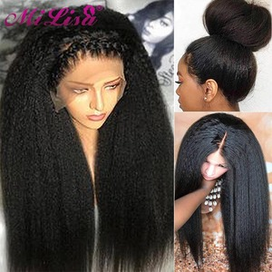 Kinky Straight Wig Glueless Lace Front Human Hair Wigs Pre Plucked 8- 26 Inch Indian Remy Yaki Human Hair Wigs For Black Women(China)
