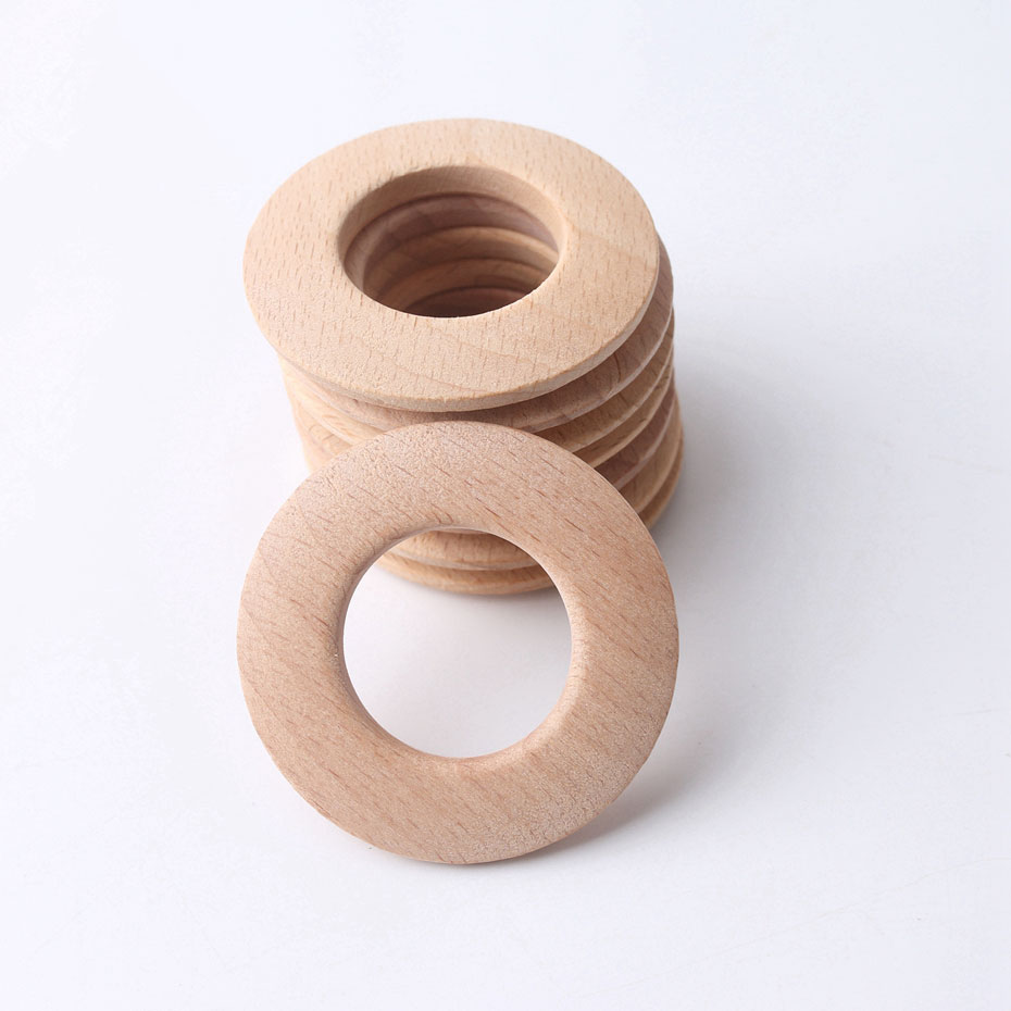 50mm 10pc Wooden Ring Donuts Wooden Teething Toys Round Handmade BPA Free DIY Necklace Teething Ring Baby Teether