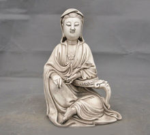 "wedding decoration 10""China temple Dehua porcelain Kwan-Yin GuanYin Bodhisattva Ruyi Buddha statue(China)"