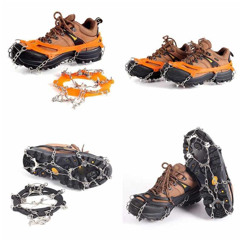 Cadena de acero inoxidable Universal hielo sin deslizamiento picos para zapatos de nieve empuñaduras tacos Crampons invierno escalada 10 dientes No deslizamiento cubierta de zapatos