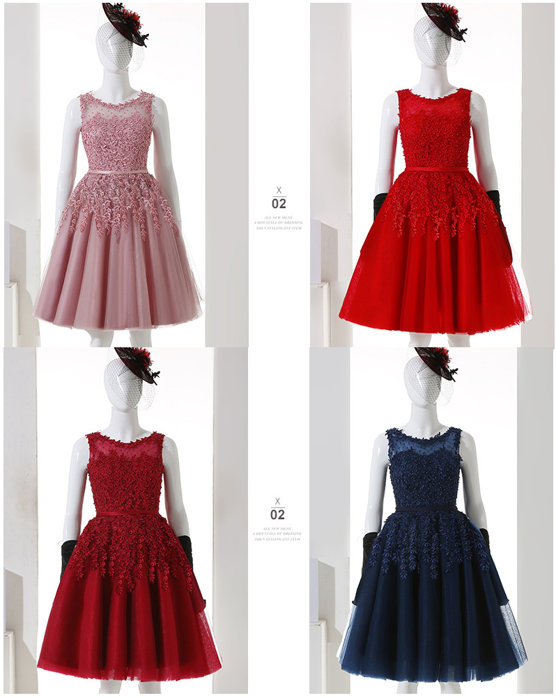Women's Evening Dress Lace Embroidery Short Prom Dress Solid Color O Neck Pink Blue Navy Sleeveless Formal Dress Ceremony Dress