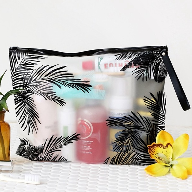 Tropical Style Cosmetic Bag Transparent Swimwear Makeup Bag Toiletry Brush Bags Organizer Necessary Case Wash Make Up Box