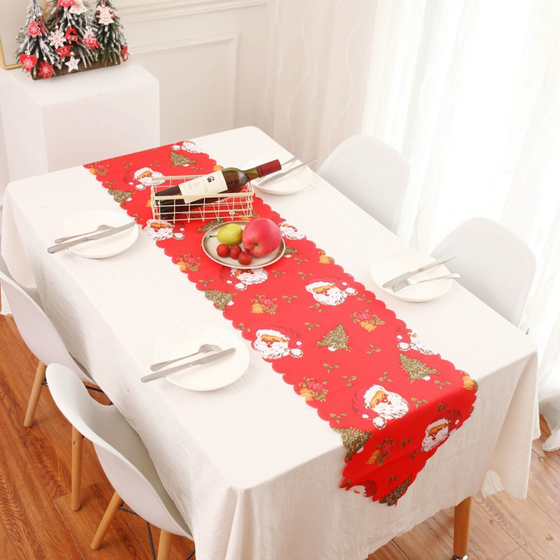 Christmas Table Runner Polyester Cotton Xmas Santa Claus Decorative Table Cloth Home Party Rustic Decor Cover