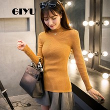 GIYU Mock Hals Effen Geribbelde Trui Herfst Winter Jumpers Casual Lange Mouwen Slim Basic Trui sueter mujer invierno(China)