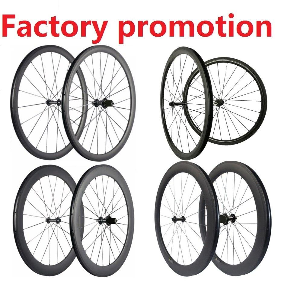 Promotion roues en carbone léger pas cher vélo de route roues en carbone 38mm 45mm 50mm 60mm 88mm roues de vélo de route