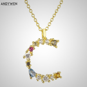 Image 1 - ANDYWEN 925 Sterling Silver I Am Initial C P Pendant Nekclace Colorful Crystal Mini Sample Long Chain Adjustab Necklace Jewelry