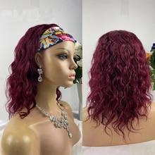 Wigs Headband Human-Hair for Women Gluesless 180-Density No-Gel Water-Wave-Machine Bungundy