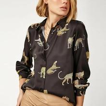 Женские блузки с длинным рукавом и отложным воротником, повседневные топы с модным леопардовым принтом, Офисная рубашка в офисном стиле, же...