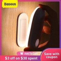 Baseus-Luz Led de noche magnética con detección de movimiento humano, lámpara de inducción automática, recargable, para pared