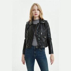 Image 3 - DK 2020 New Arrival Women Spring Leather Short Jacket Female Zipper Moto Biker Jacket  Faux Coat Black Red Outwear Plus Size