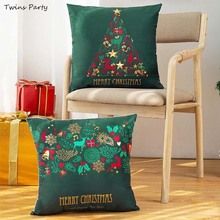 Twins 45*45cm  Christmas Green Cotton Pillowcase Ornaments 2019 Merry Decorations For Home Happy New Year