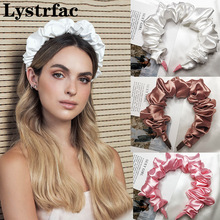 Lystrfac Solid Color Slik Padded Pleated Hairband for Women Fashion Scrunchy Headband Retro Hair Loop Female Hair Accessories