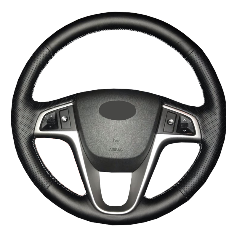 Artificial Leather car steering wheel cover for Hyundai Solaris Verna i20 2008-2012 Accent/Custom made dedicated Steering-Wheel