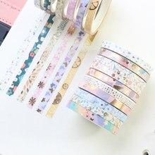 Fita decorativa japonesa domikee, folha de ouro, faça você mesmo, conjunto de fita máscara para diário planejador, livros de papelaria, 24 peças