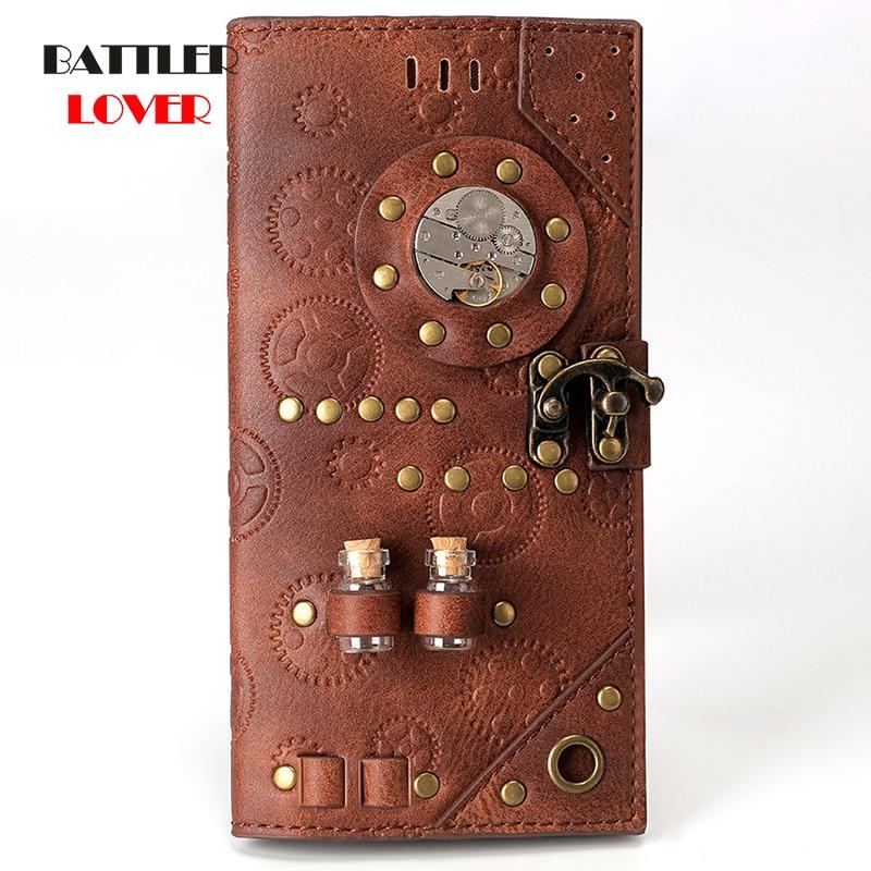 Steampunk PU Leather Printing Wallet Fashion Designer Medicine Bottle Wallet for Women Rivet Decoration Purse Ladies Card Holder