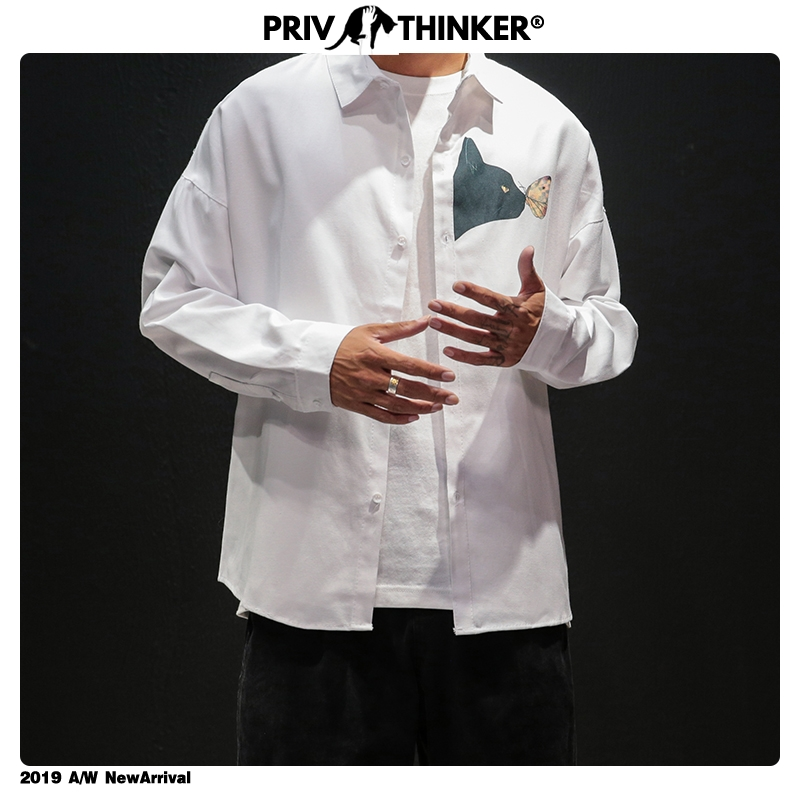 Privathinker Men 2019 INS Hip Hop Street-style Shirts Male Autumn Small Cat Print Fashion Shirts Male Plus Size White Clothes