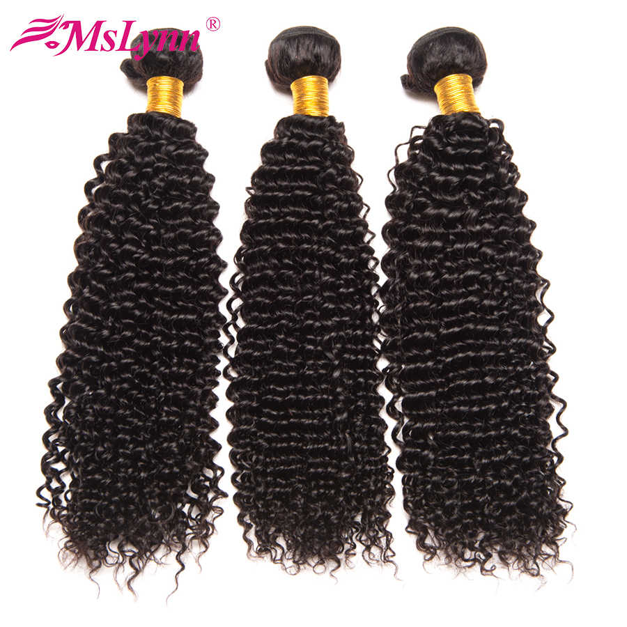 Afro Kinky Curly Hair Bundles Peruvian Hair Bundles 100% Human Hair Weave Bundles Mslynn Remy Hair Extensions 1/3 Bundles