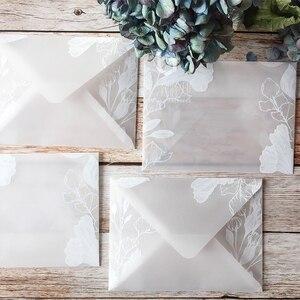 Image 2 - Красивые полупрозрачные конверты из серной кислоты 20 шт./лот, креативные дизайнерские кружевные свадебные приглашения