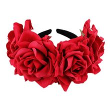 Fashion Women Headpieces Rose Flower Headbands Floral Crown Hairband Wedding Hair Garland Bridal Girls Acessories