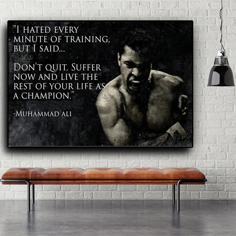 Muhammad Ali, toile dart mural avec citation de motivation, peinture, inspiration nordique, Sport, affiches imprimées