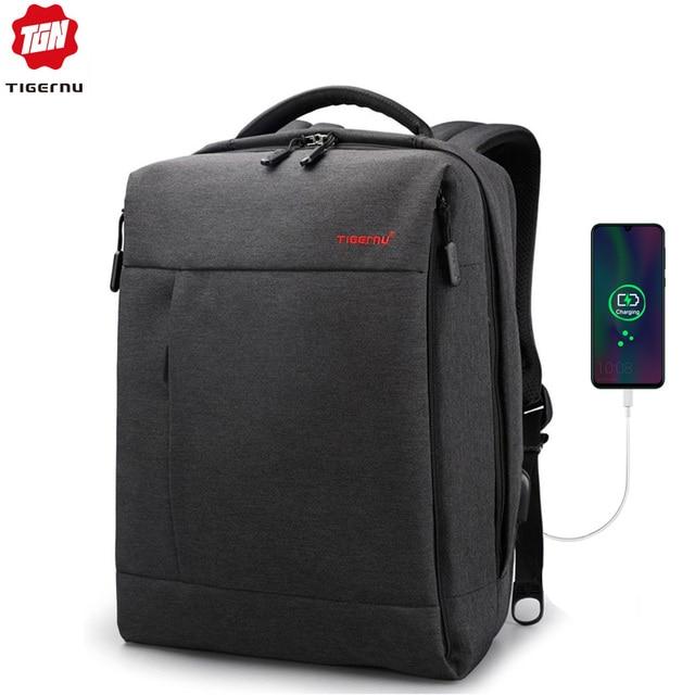"""Tigerنو العلامة التجارية USB تهمة الذكور على ظهره مكافحة سرقة Mochila 1415 """"كمبيوتر محمول حقيبة ظهر للعمل حقيبة الرجال على ظهره المرأة حقيبة مدرسية"""