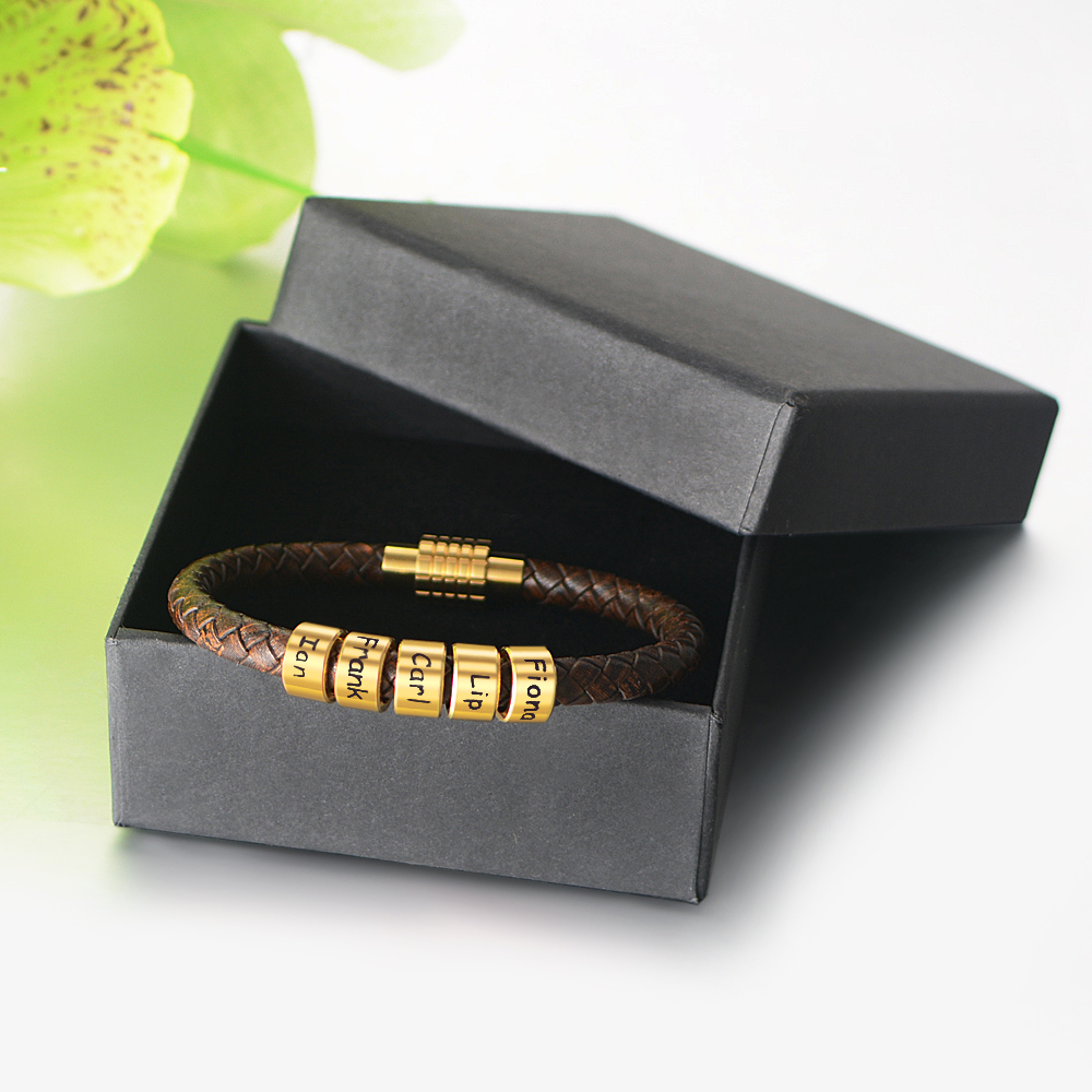 Personalized Stainless Steel Custom Family Names Bead Charms Bracelets Genuine Leather Braided Rope Bangle Men&Women Gift SL-165